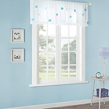 Amazoncom Lily Rod Pocket Juvenile Sheer Blue Window Valance