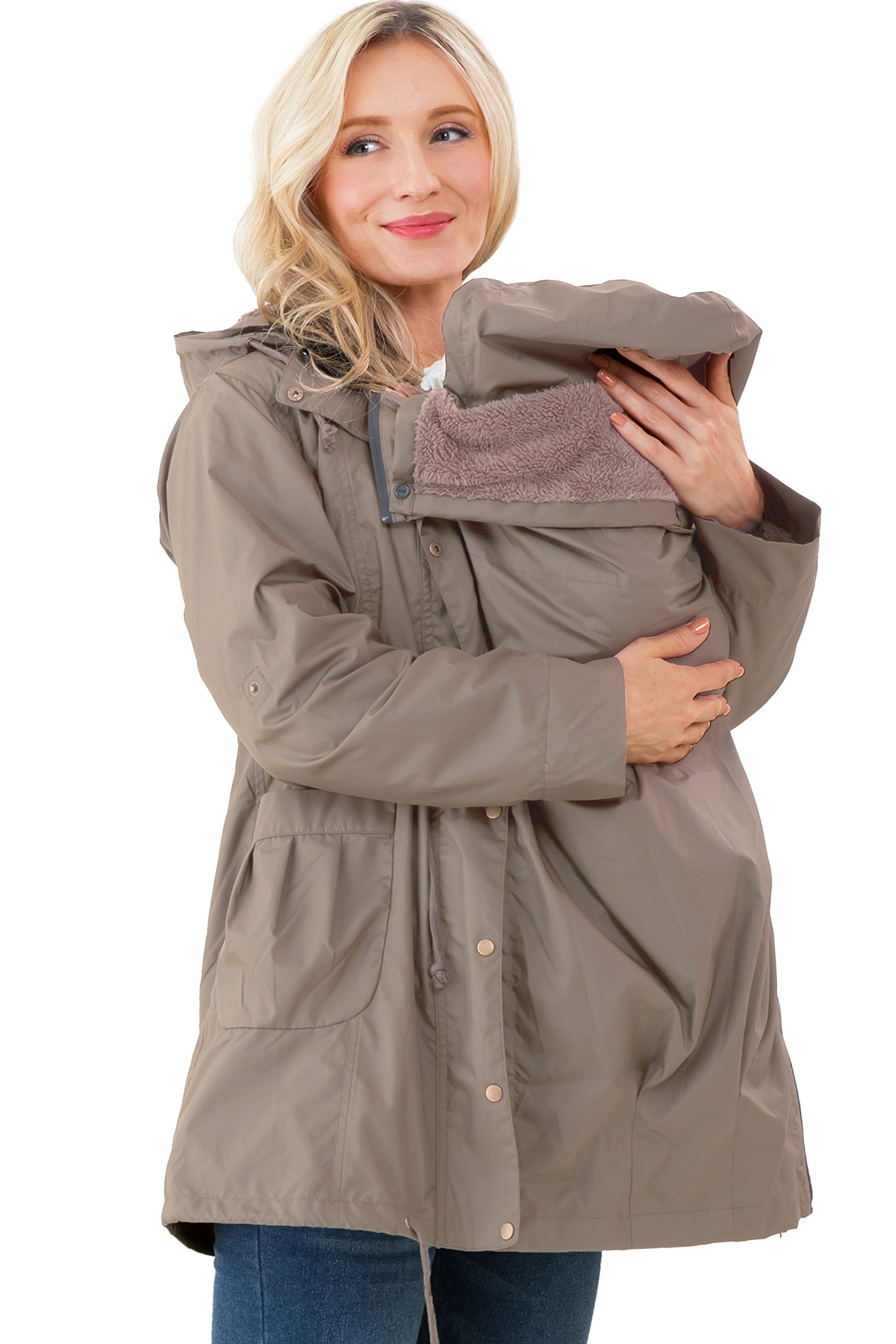 Sweet Mommy Multifunctional Mod's Style Mama Coat with a Baby PouchMocha, S by Sweet Mommy