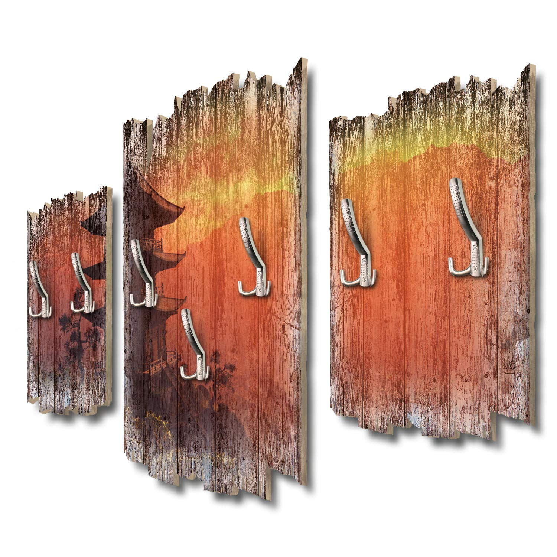 Kreative Feder Pagode Abendlicht Designer Wandgarderobe Flurgarderobe Wandpaneele 95 x 60 cm aus MDF DTGH083