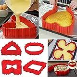 Torta del Silicone Muffa Rosso Stampo Magic Cuocere Bake Snakes I serpenti della Tortiera in Silicone(4pcs)