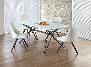 CARELLIA Mesa a Comedor diseño Rectangular - L: 160 cm x P: 90 cm x ...