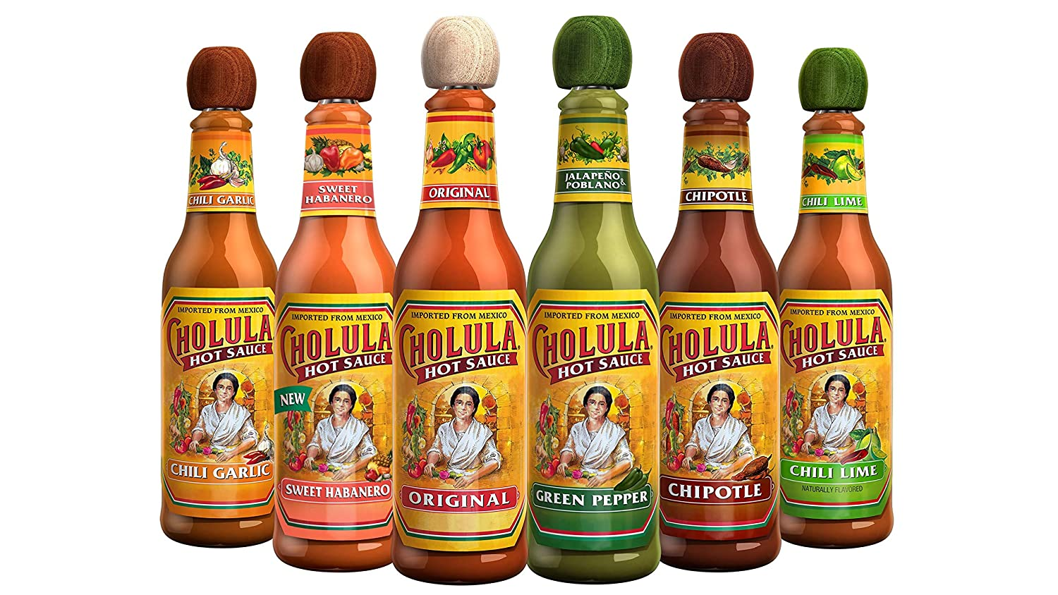 Cholula Hot Sauce Variety Pack | 6 Pack 5oz Bottles | Original, Green Pepper, Chipotle, Chili Garlic, Chili Lime and Sweet Habanero | Crafted with Mexican Peppers and Signature Spice Blend | Great Hot Sauce Lover Gift Set | Gluten Free, Kosher, Vegan, Low Sodium, Sugar Free | Best Thing to Ever Happen to Food | Perfect Balance of Flavor and Heat
