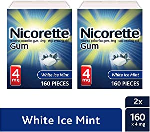 Nicorette 4mg Nicotine Gum to Quit Smoking - White Ice Mint Flavored Stop Smoking Aid, 160 Count (Pack of 2)