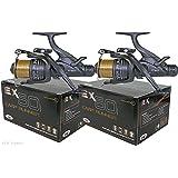 NGT - 2unidades de EX60 Carp Runner-Carrete para pescar carpas, con doble maneta intercambiable izq./dcha., bobina de recambio, línea para 4,5 kg y rodamientos 4BB