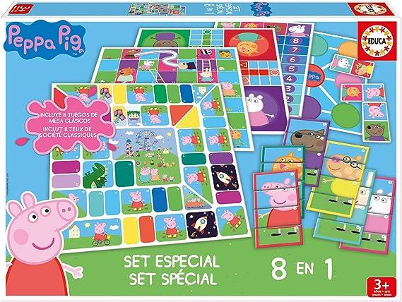 Educa - Set Especial 8 En 1 Peppa Pig: Juego de la oca, Parchís, Caracoles, Carrera de caballos, Tres en raya, Escaleras y toboganes, Dominó y Juego de personajes, a partir de