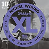 D'Addario EXL115-10P XL Nickel Wound Blues/Jazz Rock  (.11-.49) Electric Guitar Strings 10-Pack