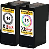 Premium Set of 2 Compatible printer Ink cartridges As a replacement for Lexmark 14 XL + 15 XL for Lexmark X2600 X2620 X2630 X2650 X2670 Z2300 Z2310 Z2320 X2620 X2600 Ink Cartridges (Black, Colored) 14+15- Lex