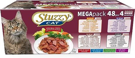 Stuzzy, Comida húmeda para Gatos esterilizados, Varios sabores, Nuggets en Salsa - Total 4,8 kg (48 Sobres x 100 gr: 12 Pavo; 12 Pato; 12 Ternera; 12 ...