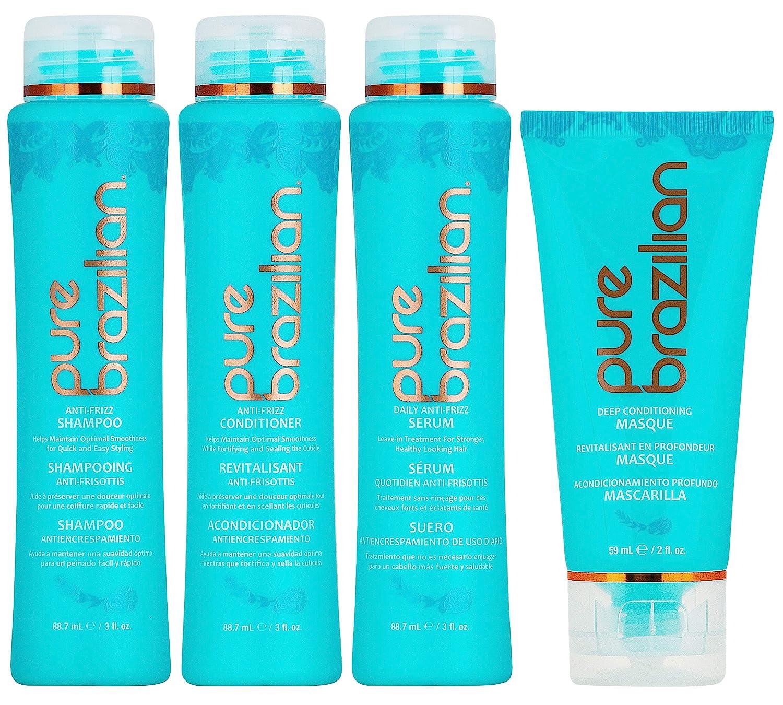 PURE BRAZILIAN - 4 Piece Essential Travel Size Kit: Anti-Frizz Shampoo, Conditioner, Serum & Masque