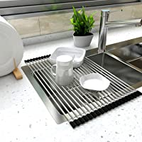 Asien 52 x 34cm Dish Drainer Over Sink Roll-Up Dish Drying Rack 304 Stainless Steel Multipurpose Countertop Draining Rack