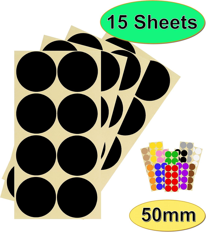 facili da staccare a scelta di 13 colori Confezione da 120 x 50 mm rotondi per calendari colorati 5 cm 15 fogli di adesivi di alta qualit/à Arancione autoadesivi
