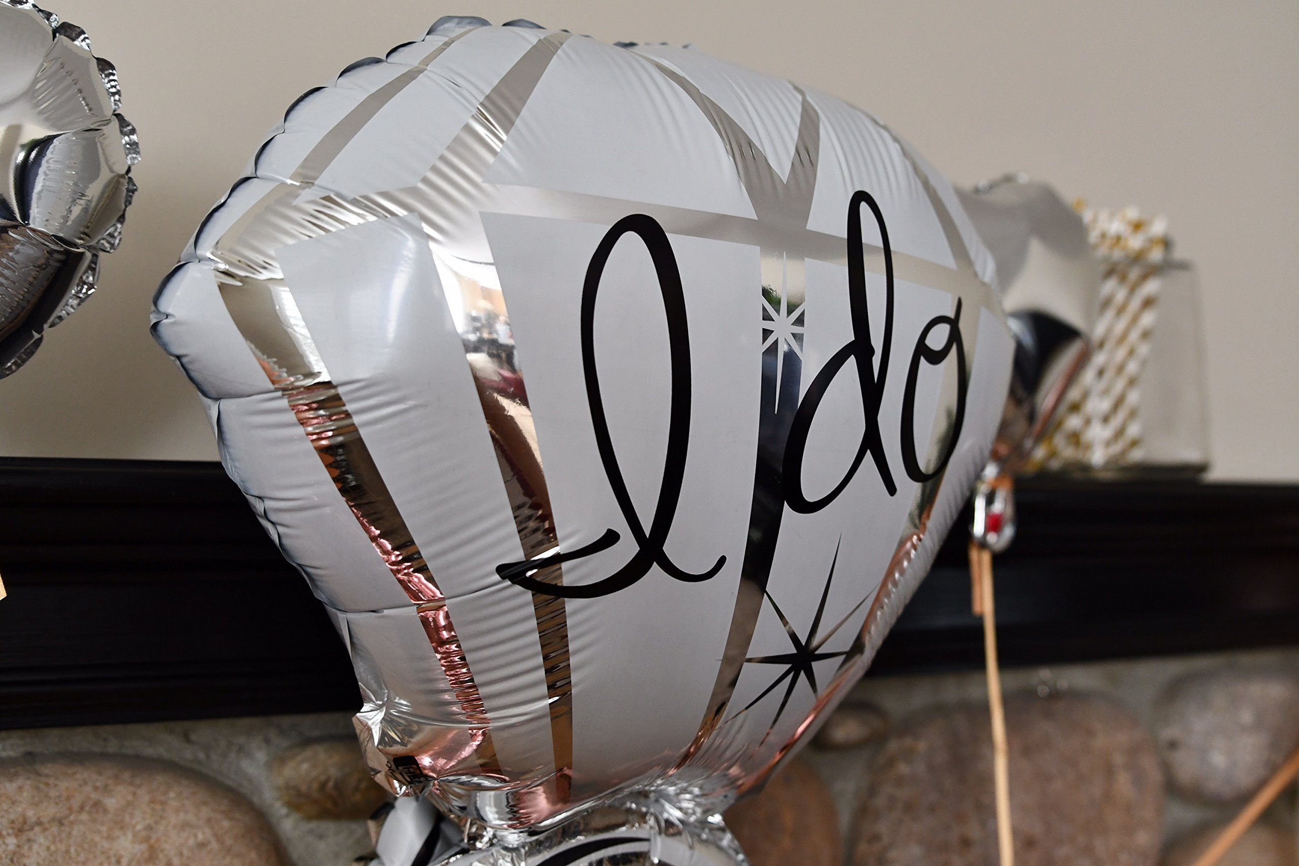 Bachelorette Party Decorations Pack - Rose Gold Party Supply Kit with Rose Gold, White Pearl and Silver Heart Balloons + Rose Gold Straws + The Bride Sash + Bride Foil Banner and Diamond Ring Balloon by Party Simple (Image #9)