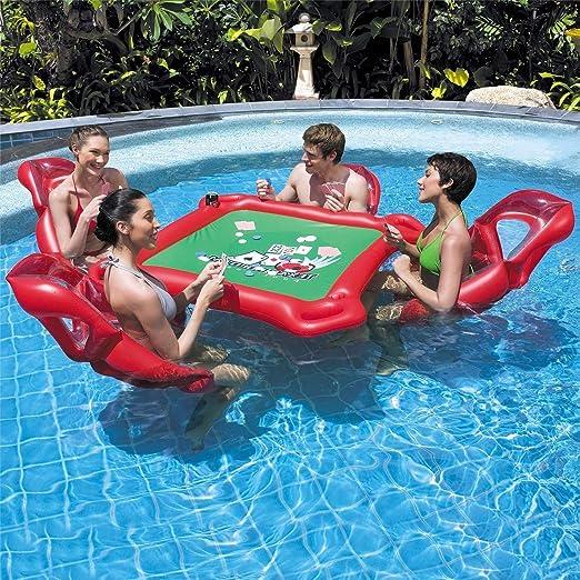 MRWJ Juego de Mesa Inflable para Juegos de Agua con colchón de Aire con 4 sillas, Piscina Ideal, Juego de Billar, Juegos de póker para Adultos, Rojo (53.4 x 53.2 Pulgadas): Amazon.es: Hogar