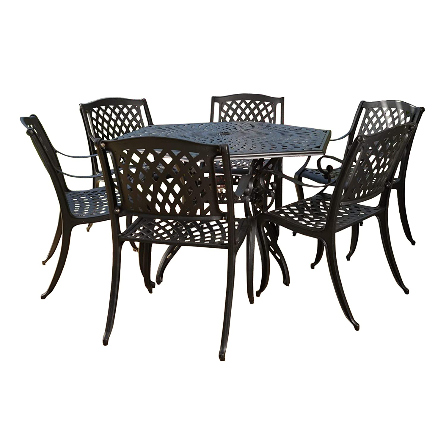 Christopher Knight Home Great Deal Furniture | Hammond | 7 Piece Cast Aluminum Dining Set | Perfect for Patio | in Bronze