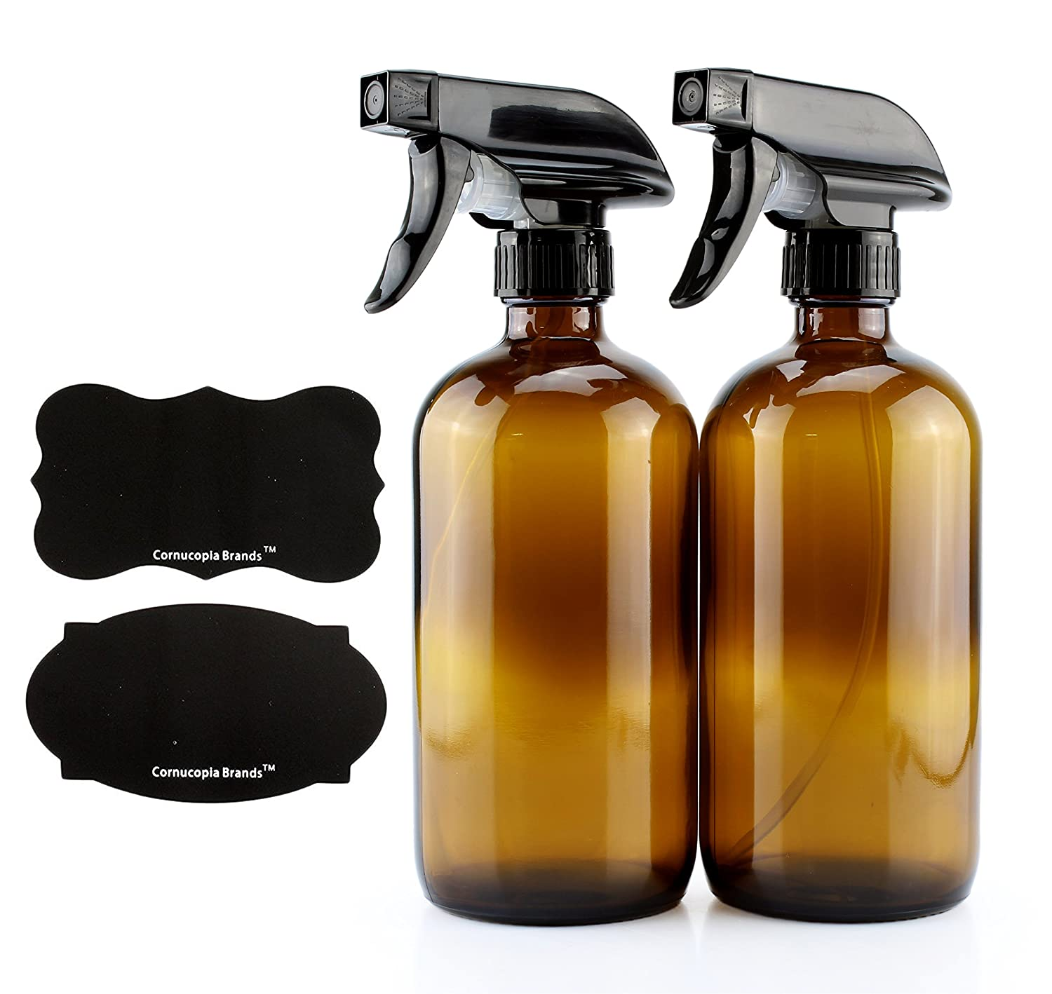 16-Ounce Amber Glass Spray Bottles w/Reusable Chalk Labels (2 Pack), Heavy Duty Mist & Stream 3-Setting Sprayer; Great for Essential Oils 81wEPIGKdNL