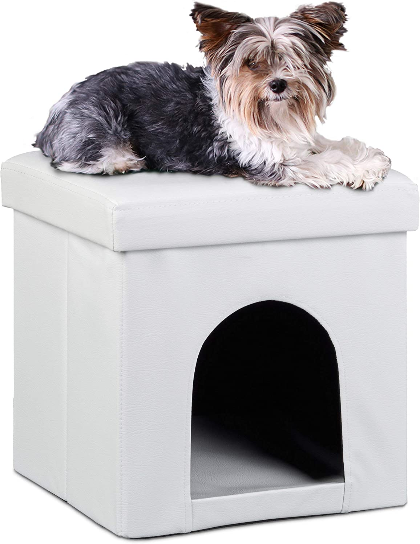 Relaxdays Taburete Casa para Perros Plegable, Piel sintética, Blanco, 38 x 38 x 38 cm