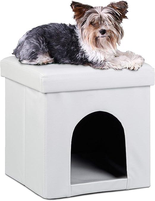 Relaxdays Taburete Casa para Perros Plegable, Piel sintética ...