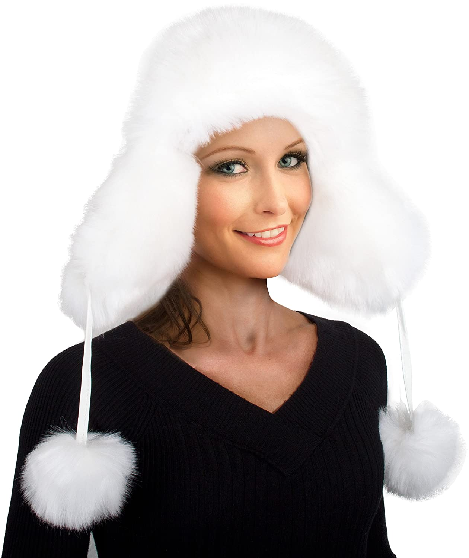 Pelzmütze Fellmütze Fliegermütze Wintermütze Skimütze Uschanka Polarmütze Mütze Fell weiss