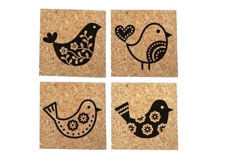 Folk Bird Cork Coaster - 4 Pack