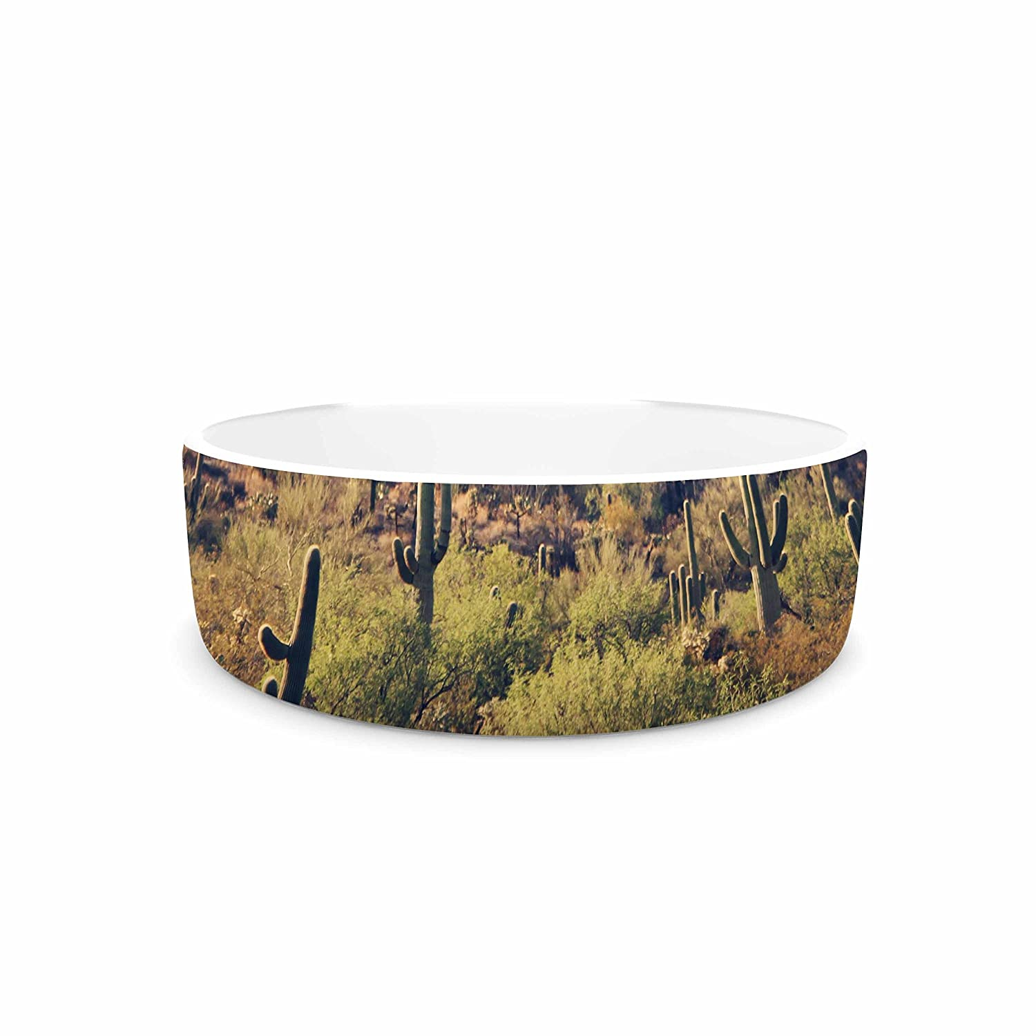 KESS InHouse Sylvia Coomes Desert Landscape 5  Brown Green Photography Pet Bowl, 7  Diameter