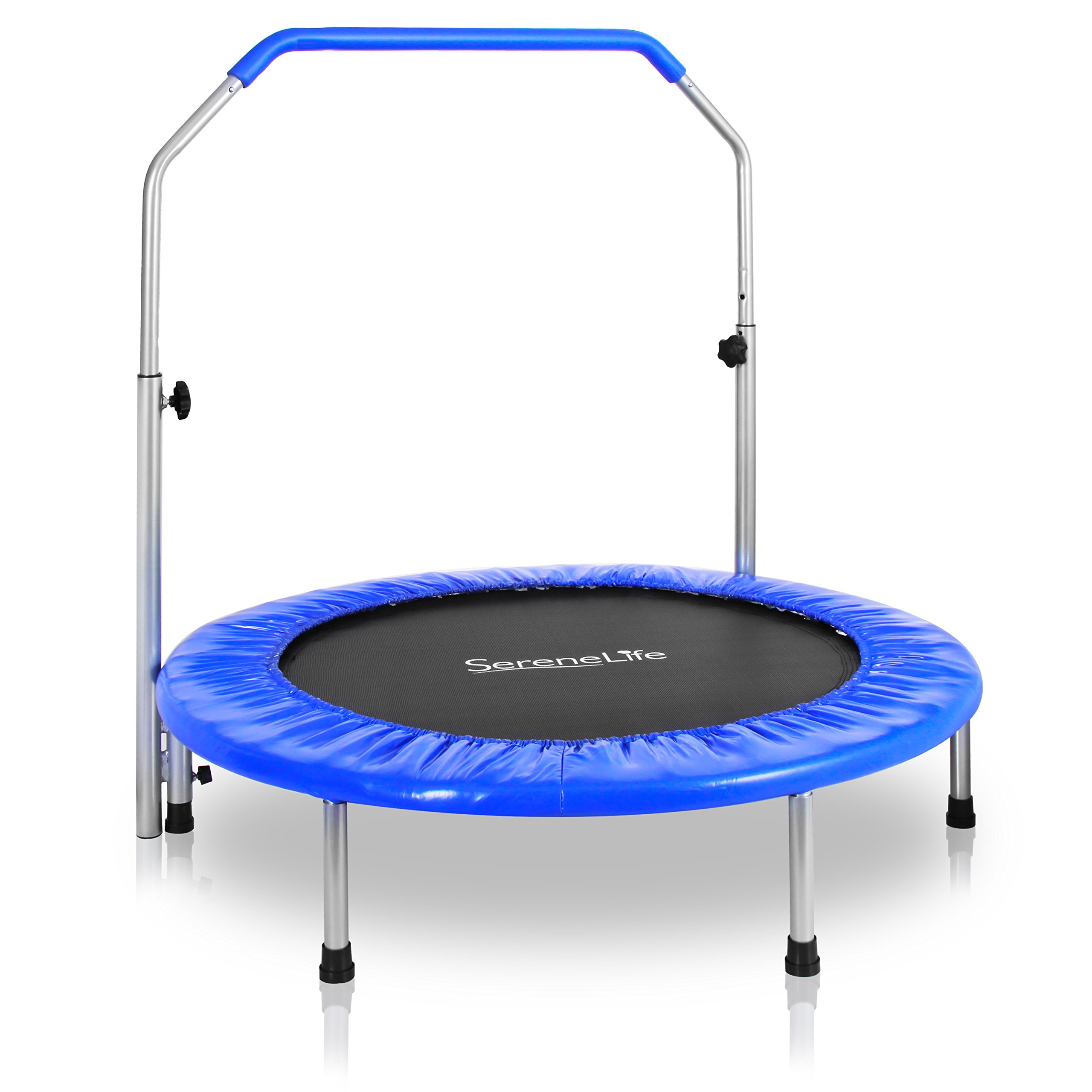 SereneLife Portable & Foldable Trampoline - 40'' In-Home Mini Rebounder with Adjustable Handrail, Fitness Body Exercise - SLSPT409