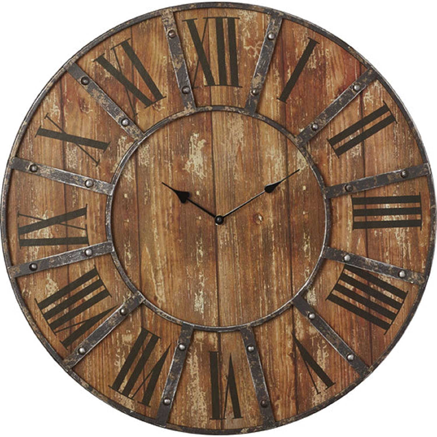 Amazon oversized 24 rustic metal wall clock roman numeral amazon oversized 24 rustic metal wall clock roman numeral numbering home kitchen amipublicfo Image collections