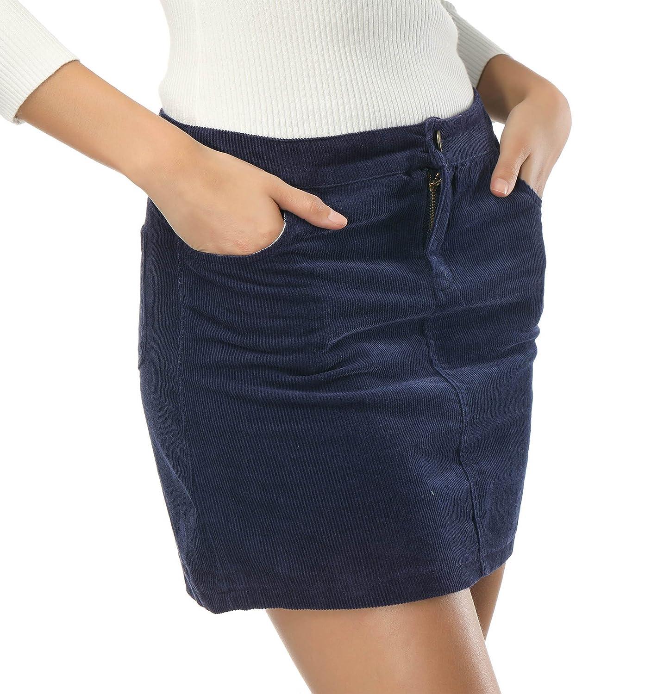 bluee Clarisbelle Women's High Waist Suede Button Closure ALine Mini Skirt