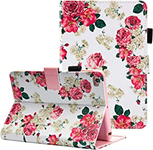 Dteck iPad Mini 1/2/3/4/5 Case - Slim Fit Premium PU Leather [Multi-Angle View] Folio Stand Wallet Cover with Auto Wake/Sleep Smart for Apple iPad Mini 1/Mini 2/Mini 3/Mini 4, Rose Floral