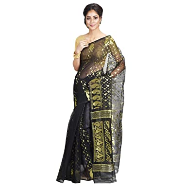 82cdd0ec14b CRAFTS AND LOOMS Women's Embroidered Woven Jamdani Silk Cotton ...