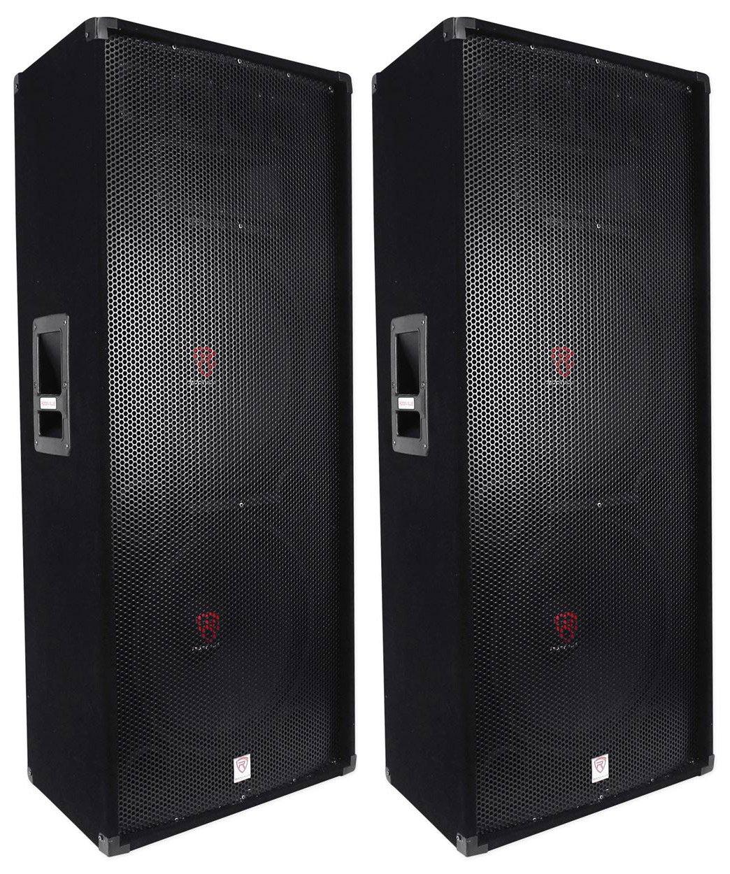 "(2) Rockville RSG15.24 Dual 15"" 3000 Watt 3-Way 4-Ohm Passive DJ / PA Speaker"