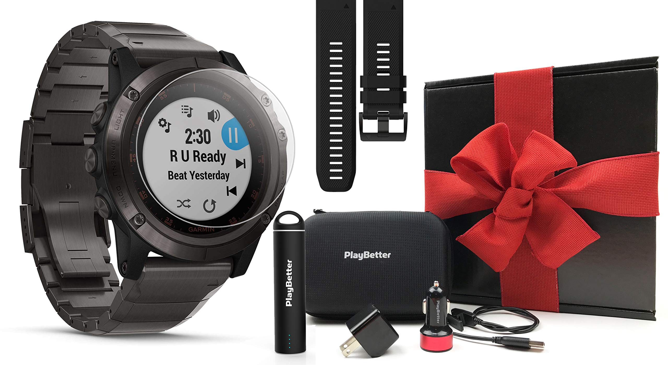 Garmin fenix 5X Plus+ Sapphire Gift Box Bundle | with Screen Protectors, PlayBetter Portable Charger, USB Adapters & Case | Multisport GPS Watch, Maps/ClimbPro, Garmin Pay, Music | Gift Box (Titanium)