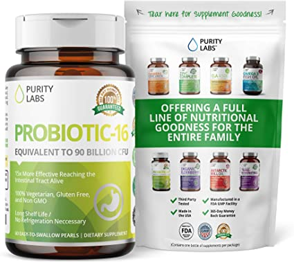 Amazon.com: Probiotics & Prebiotics for Women & Men | Equivalent to 90 Billion CFU | 15X More Effective Than Capsules | 16 Highly Targeted Strains | 60 Time Release Pearls for Digestive