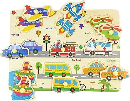 Vehicles Wooden Peg Puzzle