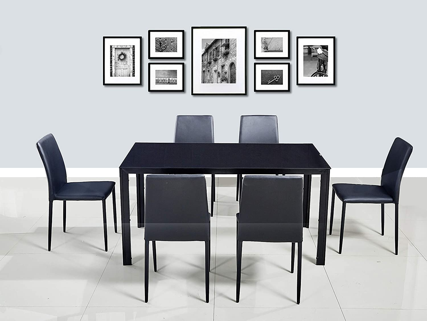 HomeTown Marko Mild Steel + Glass Six Seater Dining Set in