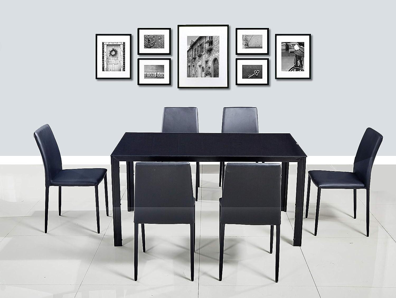 HomeTown Marko Mild Steel + Glass Six Seater Dining Set in