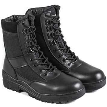 Nitehawk , Bottes militaires , imitation cuir , noir , 35,5