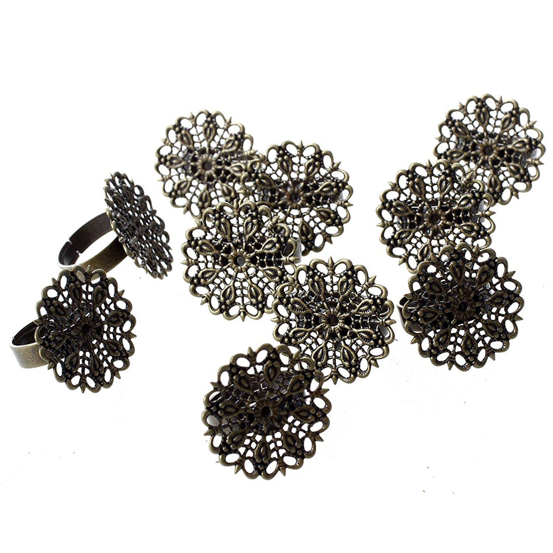 Lot de 10 Support de Bague Anneau Plateau Fleur Reglable 25mm En Metal Bronze TOOGOO R