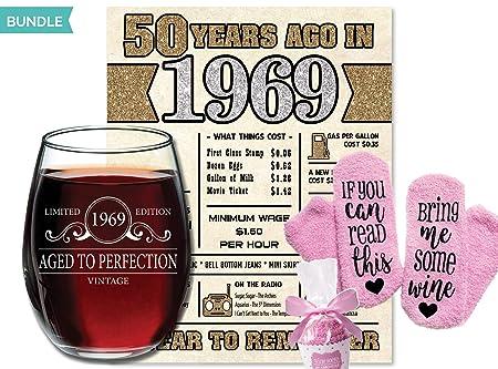 Vino de vidrio + póster digital + calcetines de vino] 1969 ...