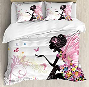 Ambesonne Fashion Duvet Cover Set, Fairy Girl with Wings in a Floral Dress Fantasy Garden Flying Butterflies, Decorative 3 Piece Bedding Set with 2 Pillow Shams, Queen Size, Pink White