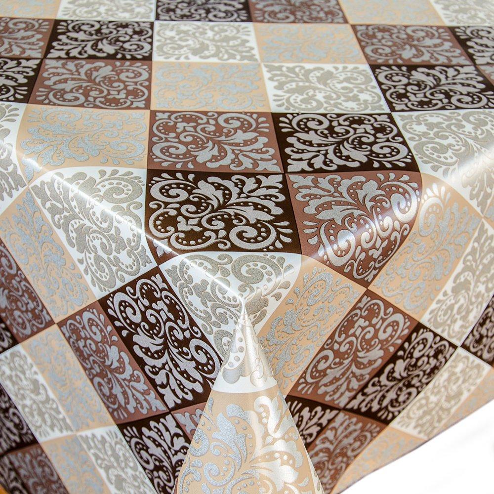 Tovaglia in tela cerata, lavabile, motivo a quadrati di colore marrone/marrone scuro/beige, personalizzabile, asciugamani, Bunt, Rolle 20mx140cm ANRO