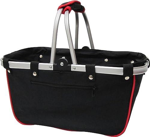 JanetBasket Large Aluminum Frame Basket, 18-Inch x 10-Inch x 9.5-Inch, Black Red
