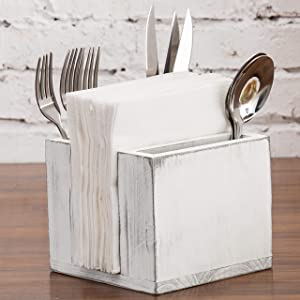 MyGift Vintage White Wood Flatware and Napkins Buffet Caddy