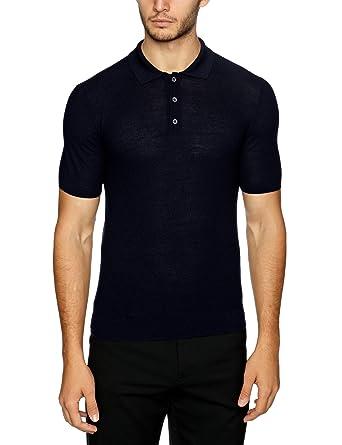 8be34872 Pringle Merino Wool Knit Men's Polo Dark Navy Small: Amazon.co.uk ...