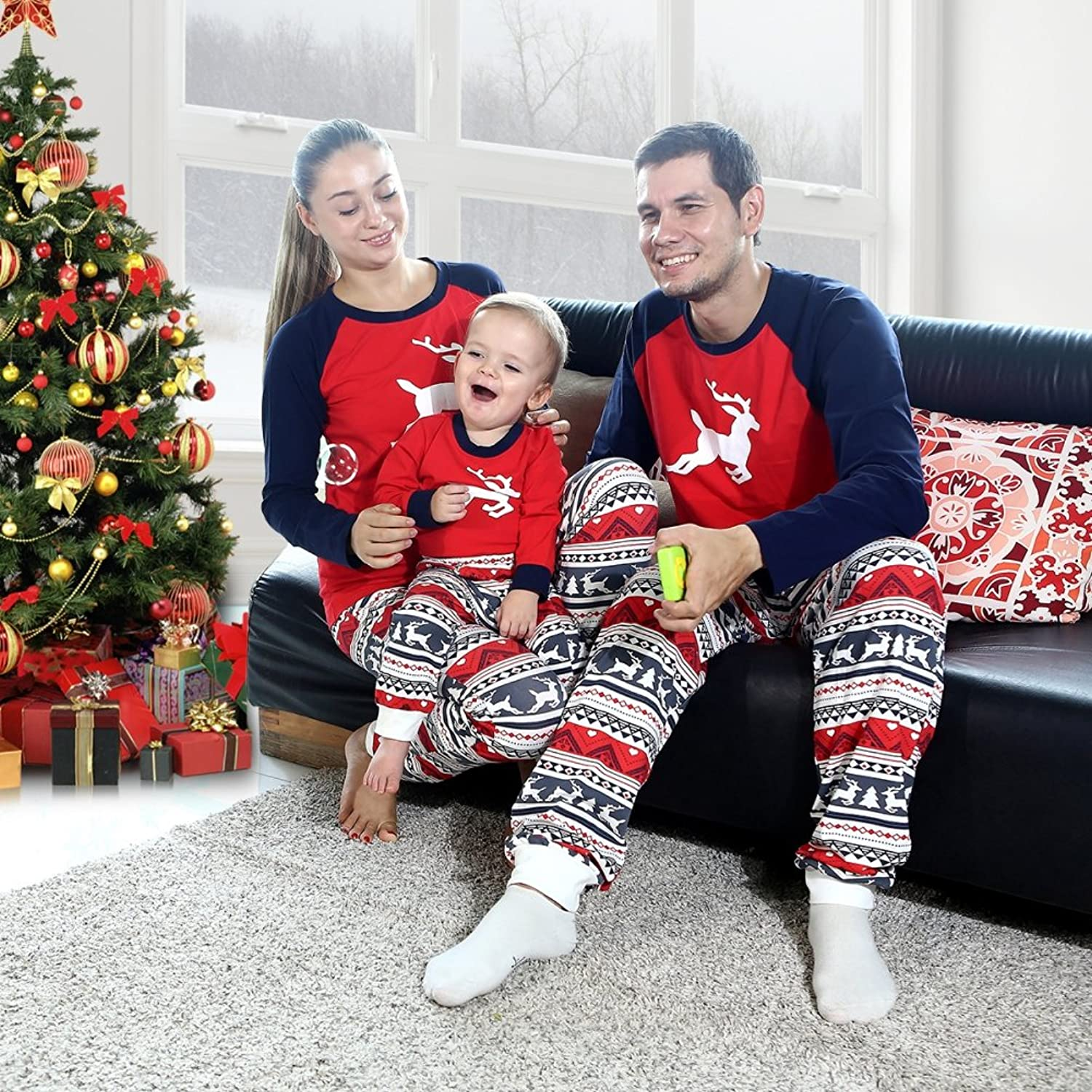 ... super popular 5c6cc ed063 Amazon.com EFINNY Matching Family Christmas  Pajama Sets Striped Flannel Kids ... 1a71eb72a