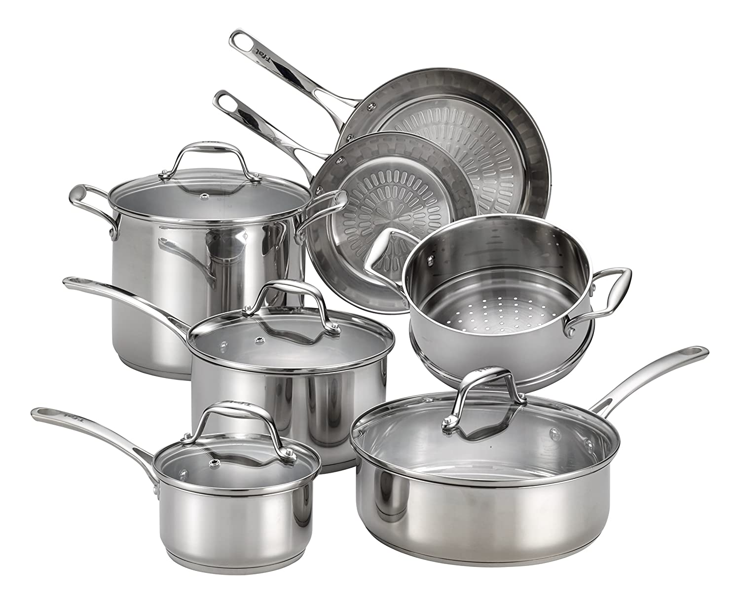 T-fal H800SB Performa X Stainless Steel Dishwasher Safe Oven Safe Cookware Set, 11-Piece, Silver Groupe SEB 2100097389