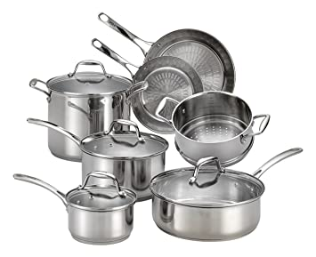 T-fal e760sc Performa 12 piezas Batería de cocina de acero inoxidable, color plateado: Amazon.es: Hogar