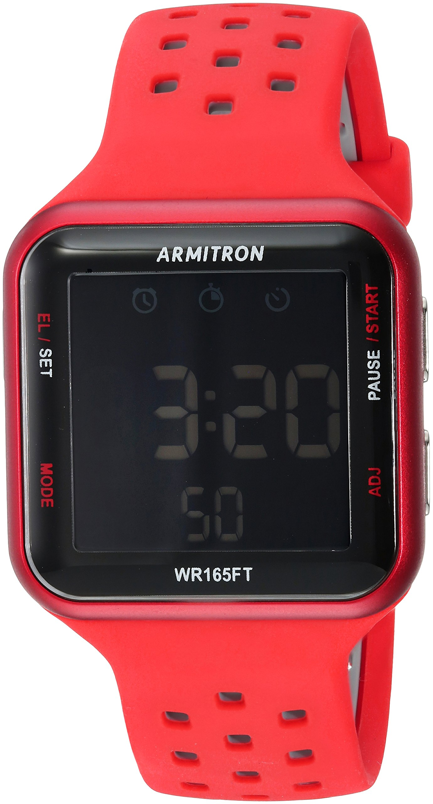 Armitron Sport Unisex 40/8417RED Black Accented Digital Chronograph Red Perforated Silicone Strap Watch