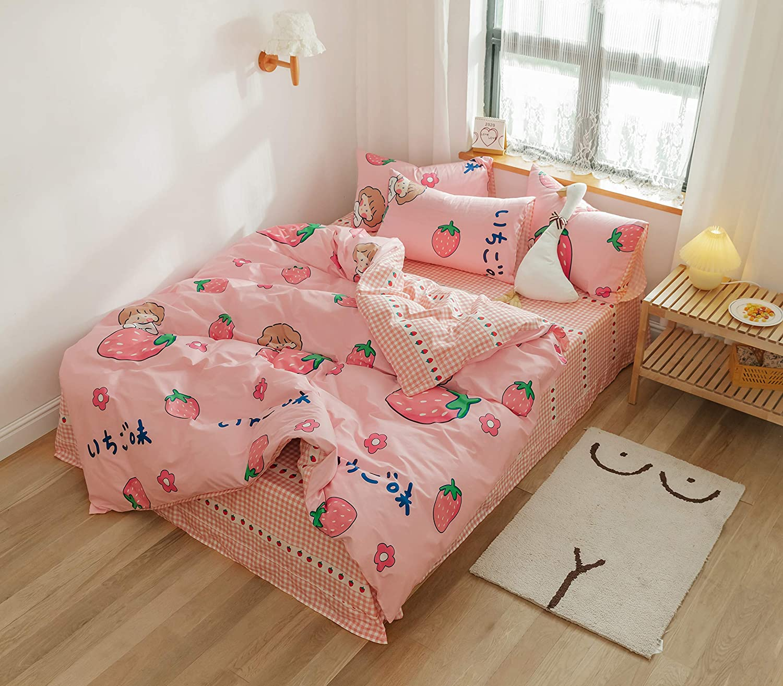 AOJIM Japanese Kawaii Style -100% Cotton Cartoon Pink Duvet Cover Set Strawberry Girls Bedding Set 3 PCS Best Bedding Gifts for Kids Twin Size