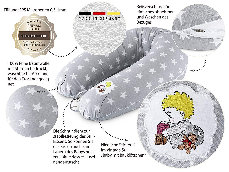 Sei Design Stillkissen Schwangerschaftskissen Lagerungskissen /Ökotex zertifiziert Extra leise F/üllung Bezug 100/% Baumwolle abnehmbar XXL 190 x 30 cm