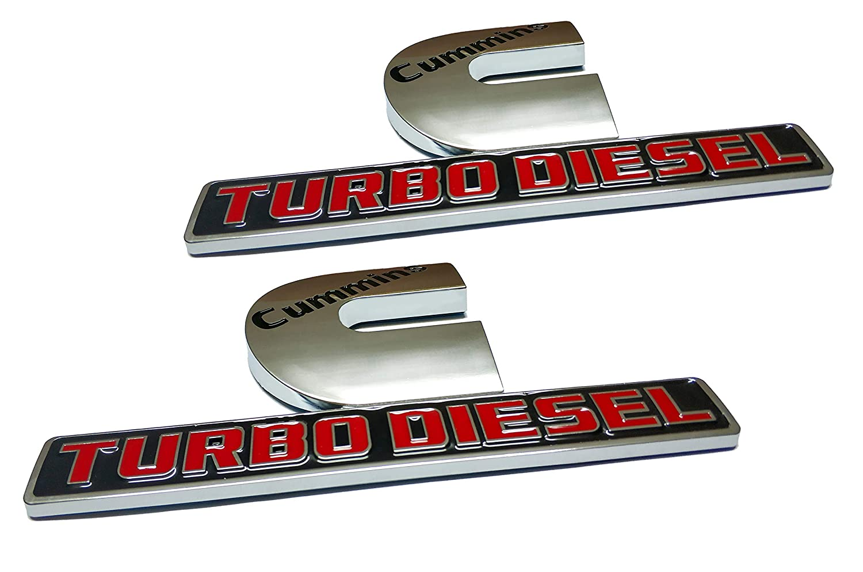2pcs Cummins Turbo Diesel Emblems 3D Decal Badges High Output Replacement for Dodge Ram 2500 3500 Nameplate Emblem Mopar Chrome